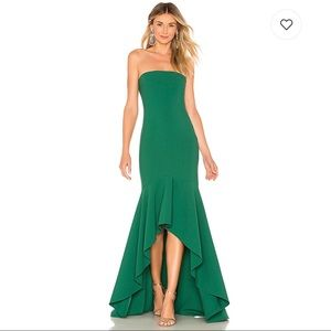 LIKELY Carlo High Low Ruffle Strapless Long Gown